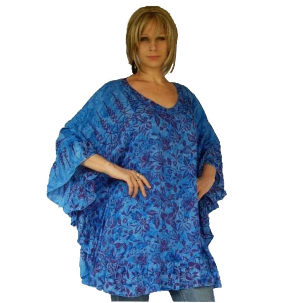 Beautiful Feminine Batik Boho Ruffle Poncho Top