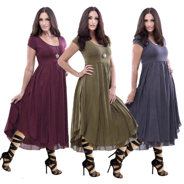 Emerson Cap Sleeve Layered Stretched Lycra Bohemian Midi Dress