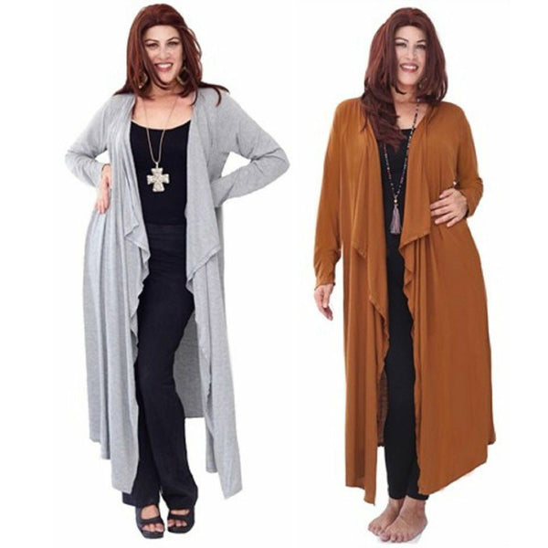 Stretch Jersey Cascade Ruffles Duster Jacket