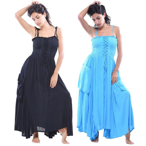 Inset Spaghetti Strap Long Maxi Dress