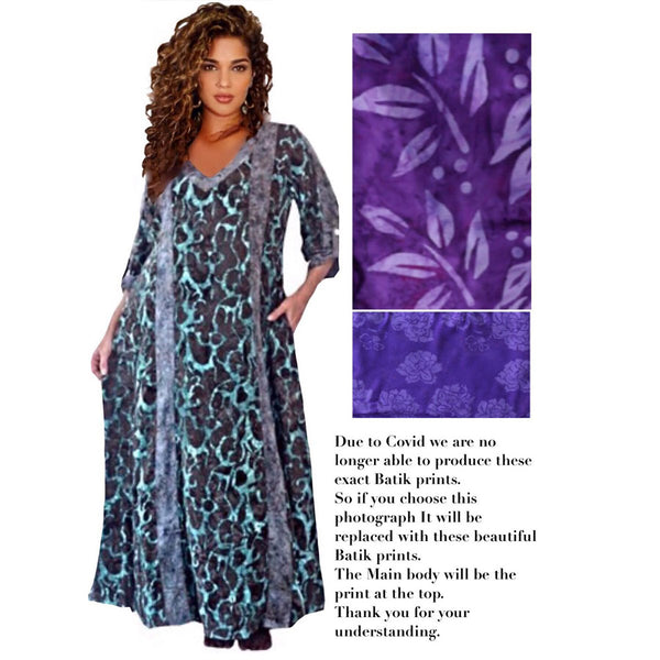 Genevieve  Deep Pockets Quality Batik Caftan Maxi Dress