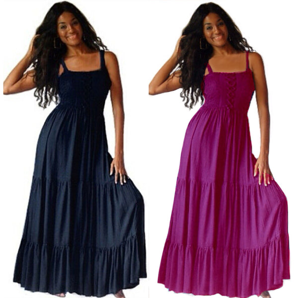Avery Boho Smocked Ruffled Strappy Maxi Dress