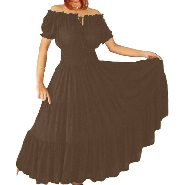 Amelia Boho Elasticized Waist Tiered Skirt Mexican Dress