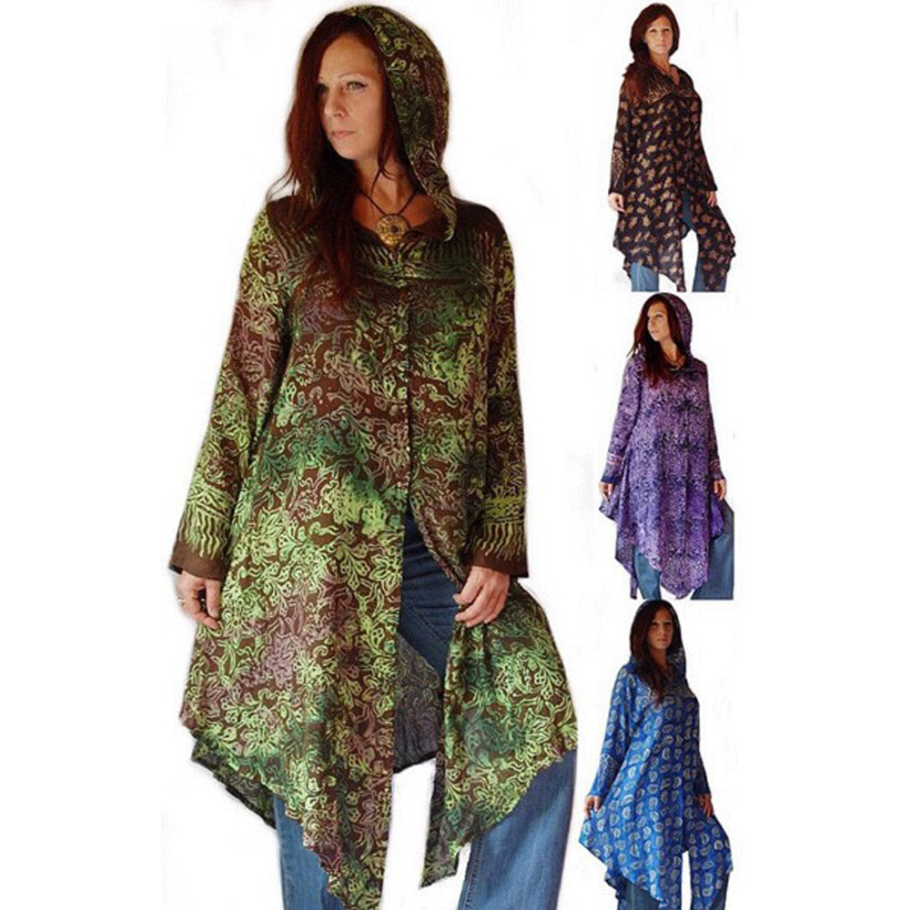 Batik Tunic Top Jacket with Hood