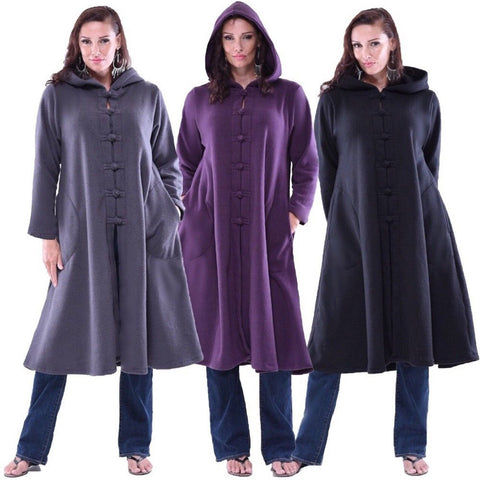 Knot Pocket Hooded Fleece Coat