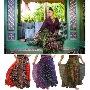 Batik Patchwork Layered Elastic Waist Maxi Skirt