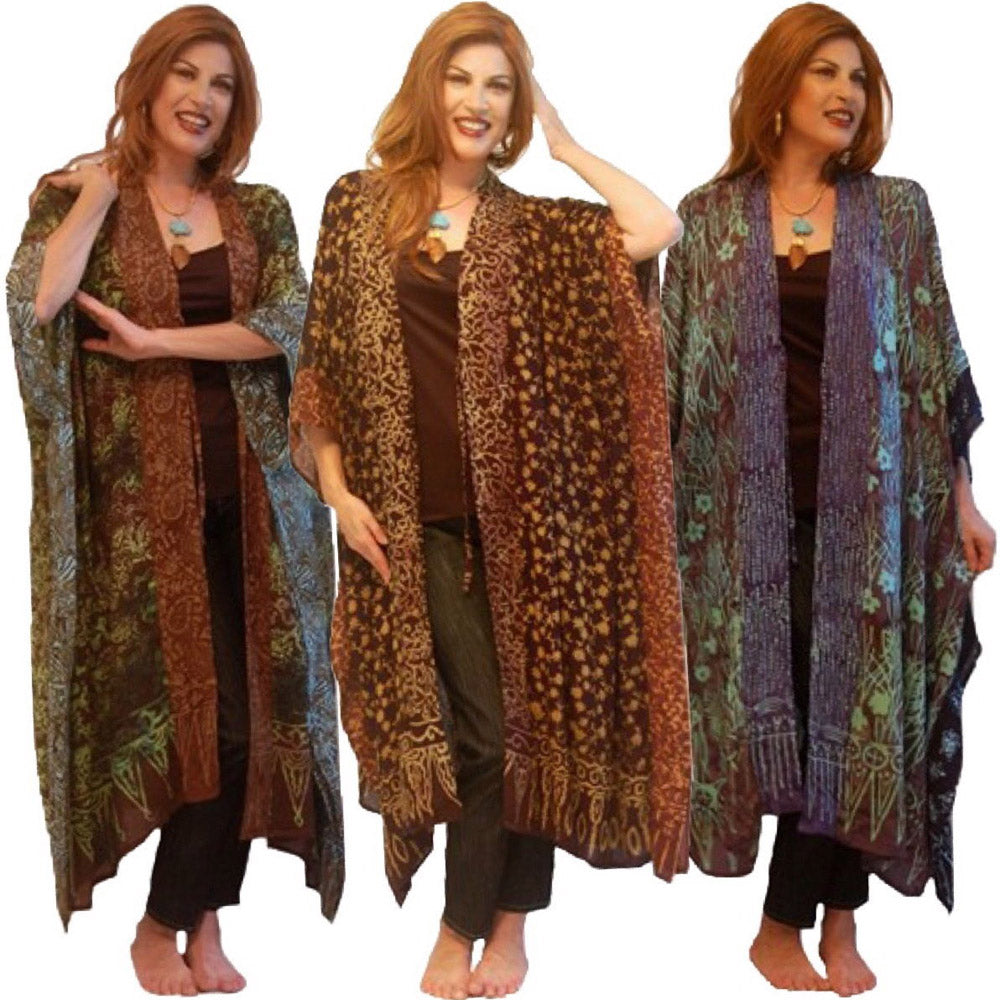 Knee Length Vertical Patch Gypsy Batik Kimono Jacket