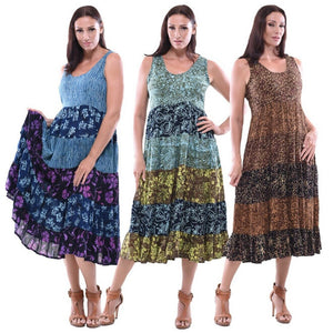 Gauzy Batik Empire Baby Doll Tiers Midi Dress