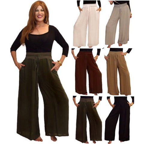 Gaucho Pants with Wide Leg and Pockets