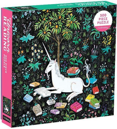 Galison Mudpuppy Puzzle - Unicorn Reading, 500 Piece
