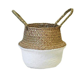 Longay Handmade Straw Basket Wicker Basket Flowers Pot for Storage Garden Home Decor (White)