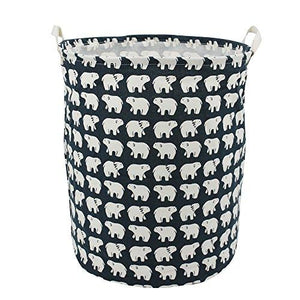 19.7  Large Laundry Hamper Bucket Waterproof Coating Cotton Laundry Basket Collapsible Washing Basket Cute Canvas Storage Basket Bin Home Nursery Toy Organizer (Polar Bear)