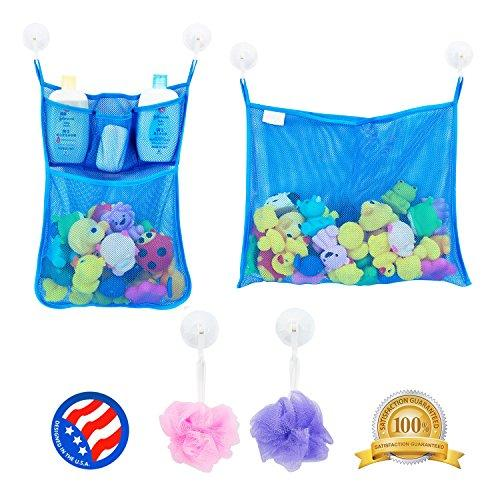 2 x Mesh Bath Toy Organizer + 6 Ultra Strong Hooks – The Perfect Net for Bathtub Toys & Bathroom Storage – These Multi-Use Organizer Bags Make Bath Toy Storage Easy – For Kids, Toddlers & Adults