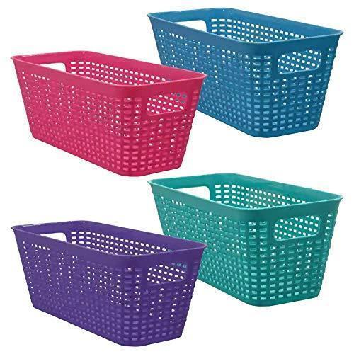 Small Colorful Plastic Baskets Rectangle Tray Pantry Organization and Storage Kitchen Cabinet Spice Rack Food Shelf Organizer Organizing for Desks Drawers Weave Deep Closets Lockers