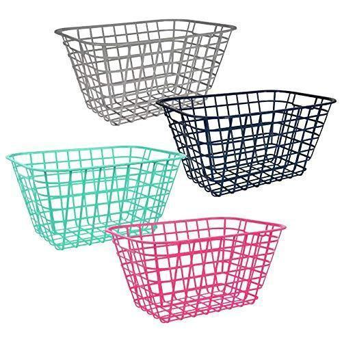 Pantry Organization and Storage Plastic Baskets with Handle Toy Organizer For Shelves Wicker Colorful Under Shelf For Organizing Kitchen Sink Organizer Book Bins for Classroom Library Muilticolor