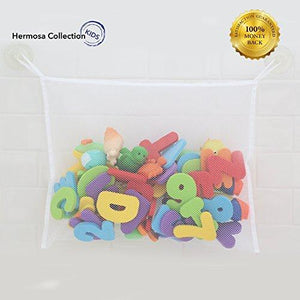#1 Rated Bath Toy Organizer - Washable Mold Resistant Large Storage Bag For Bathtub &Amp; Shower Toys + 2 Free Additional Heavy Duty Suction Hooks