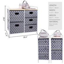 Load image into Gallery viewer, Amazon best wide dresser storage tower 5 drawer chest sturdy steel frame wood top easy pull fabric bins organizer unit for bedroom playroom entryway closets lantern printing gray white