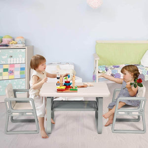 Selection costzon kids table and 2 chair set children table furniture with storage rack for toddlers reading learning dining playroom desk chair for 1 to 3 years activity table desk sets white