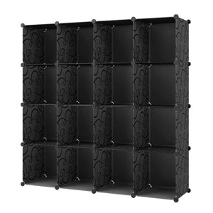 KOUSI Portable Storage Shelf Cube Shelving Bookcase Bookshelf Cubby Organizing Closet Toy Organizer Cabinet (Black (No Door), 16 Cubes)