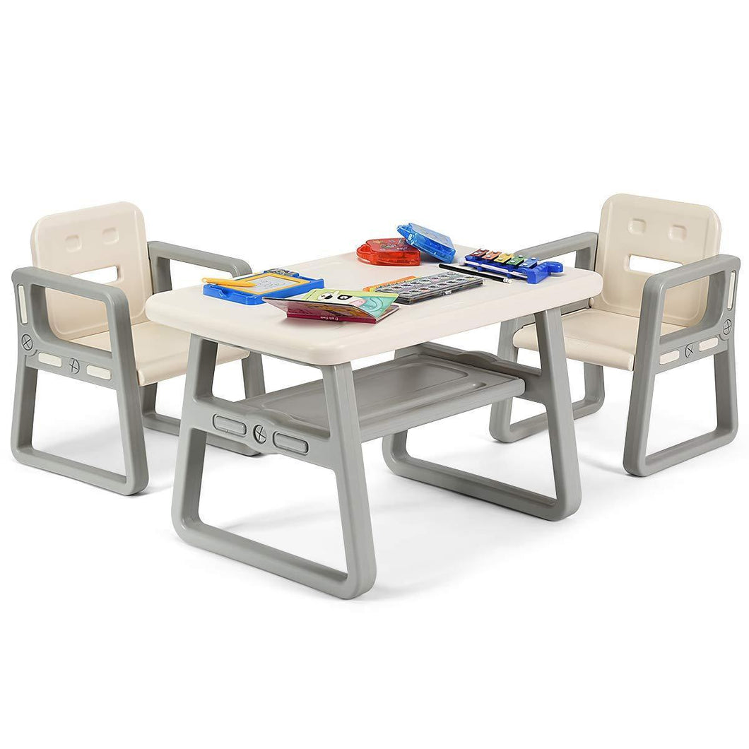 Purchase costzon kids table and 2 chair set children table furniture with storage rack for toddlers reading learning dining playroom desk chair for 1 to 3 years activity table desk sets white