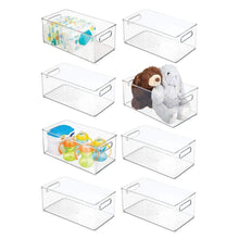 Load image into Gallery viewer, Shop mdesign deep storage organizer container for kids child supplies in kitchen pantry nursery bedroom playroom holds snacks bottles baby food diapers wipes toys 14 5 long 8 pack clear
