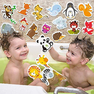 3 Bees & Me Animal Bath Toys for Boys and Girls – Fun Foam Animals with Bath Toy Storage Bag – 18 Piece Non Toxic Kids Bath Set