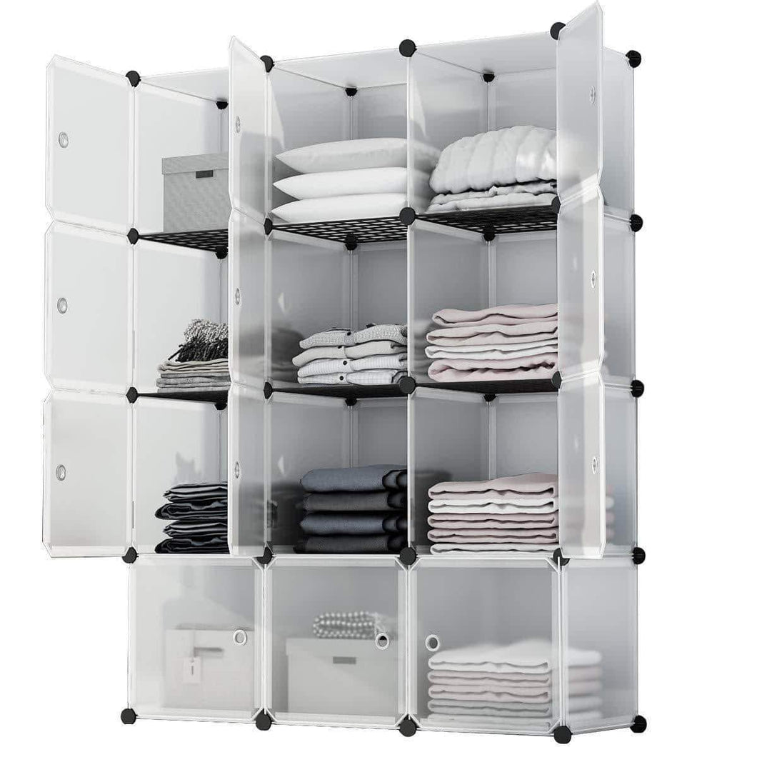KOUSI Portable Storage Cube Cube Organizer Cube Storage Shelves Cube Shelf Room Organizer Clothes Storage Cubby Shelving Bookshelf Toy Organizer Cabinet, Transparent White, 12 Cubes