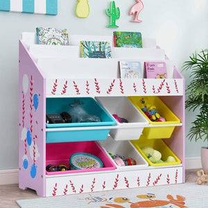 Budget costzon kids toy storage organizer bookshelf children bookshelf with 6 multiple color removable bins shelf drawer 3 shelf sleeves ideal for kids room playroom and class room pink