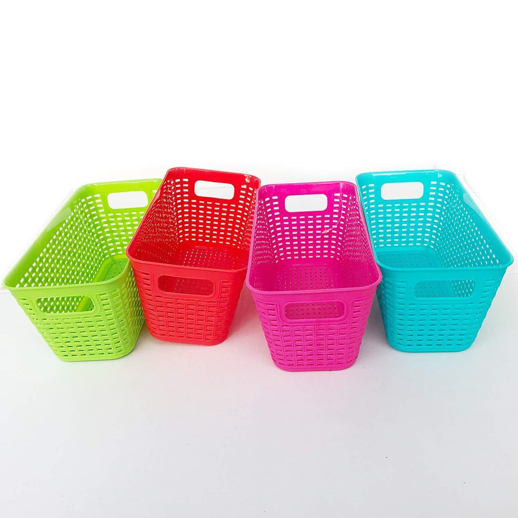 Plastic Baskets Pantry Organization and Storage Kitchen Cabinet Spice Rack Organizer for Food Shelf Small Colorful Rectangle Tray Organizing for Desks Drawers Weave Deep Closets Art Lockers Set of 4