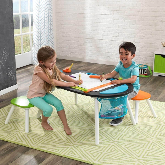Products durable deluxe chalkboard art table w 3 sealable spill proof paint cups 2 paper rolls 2 colorful surdy stools features mesh storage compartment great for playroom for ages 3 and up