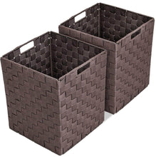 Load image into Gallery viewer, Selection sorbus foldable storage cube woven basket bin set built in carry handles great for home organization nursery playroom closet dorm etc woven basket bin cubes 2 pack chocolate
