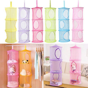 3 Shelf Hanging Storage Net Kids Toy Organizer Bag Bedroom Wall Door Closet Storage Organizer