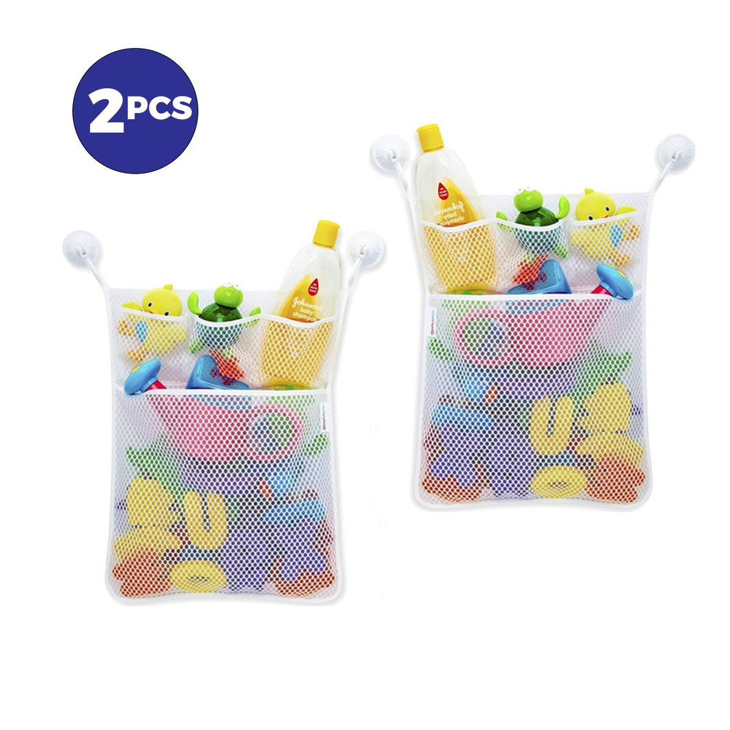 2 Pack Bath Toy Organizer - Baby Toy Storage Mesh Bag + 4 Strong Suction CupsBath Tub Toy Storage Mesh Bag Tidy Suction Net.(53*41cm)