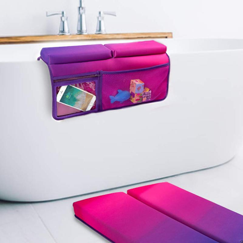Bath Kneeler and Elbow Rest Bathtub Kneeling Mat with Toy Organizer - Bath Kneel Pad for Baby Bath Time, Garden Work, Exercise - Detachable and Foldable Child Bath Tub Padding for Parents