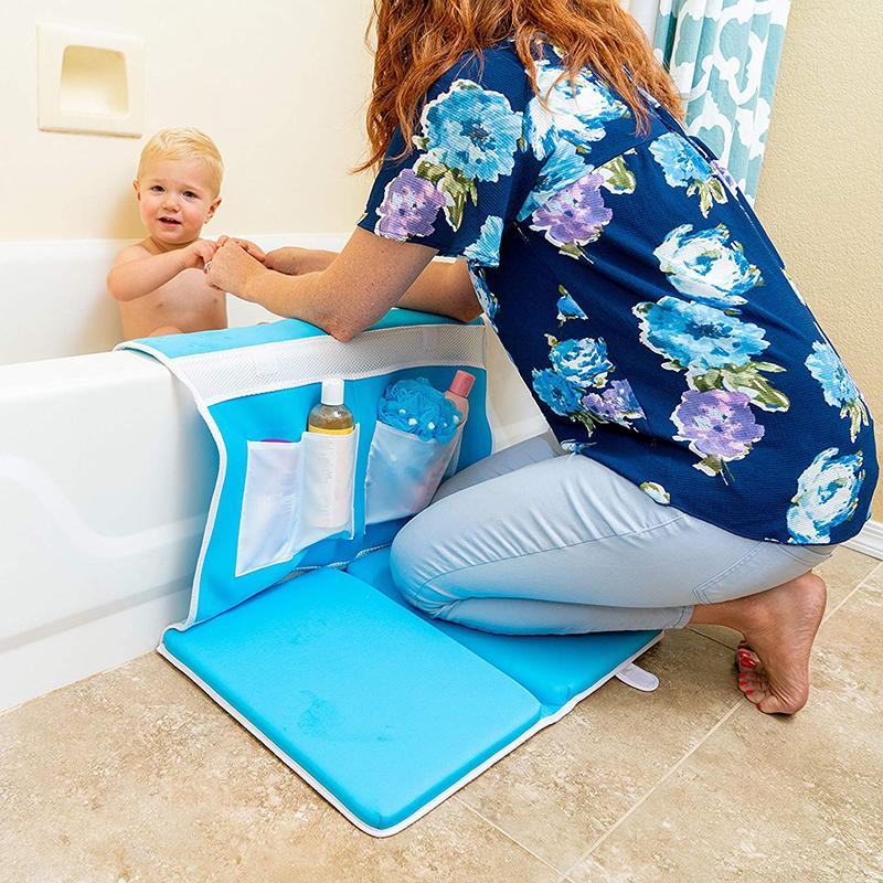 Bath Kneeler and Elbow Rest Bathtub Kneeling Mat with Toy Organizer - Bath Kneel Pad for Baby Bath Time, Garden Work, Exercise - Detachable and Foldable Child Bath Tub Padding for Parents - Blue