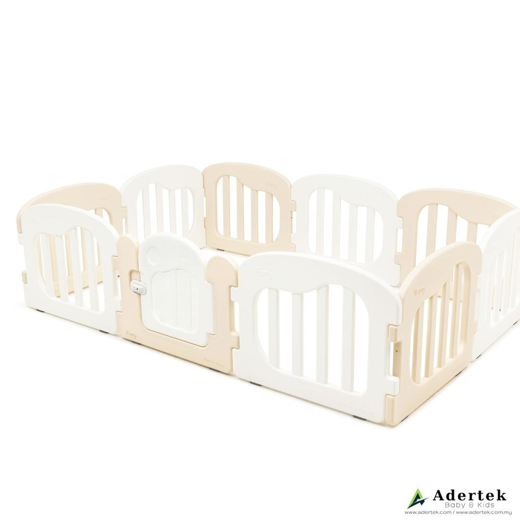 IFAM Natural Baby Play Yard with Door Set (10pcs 220x148cm) Beige+White