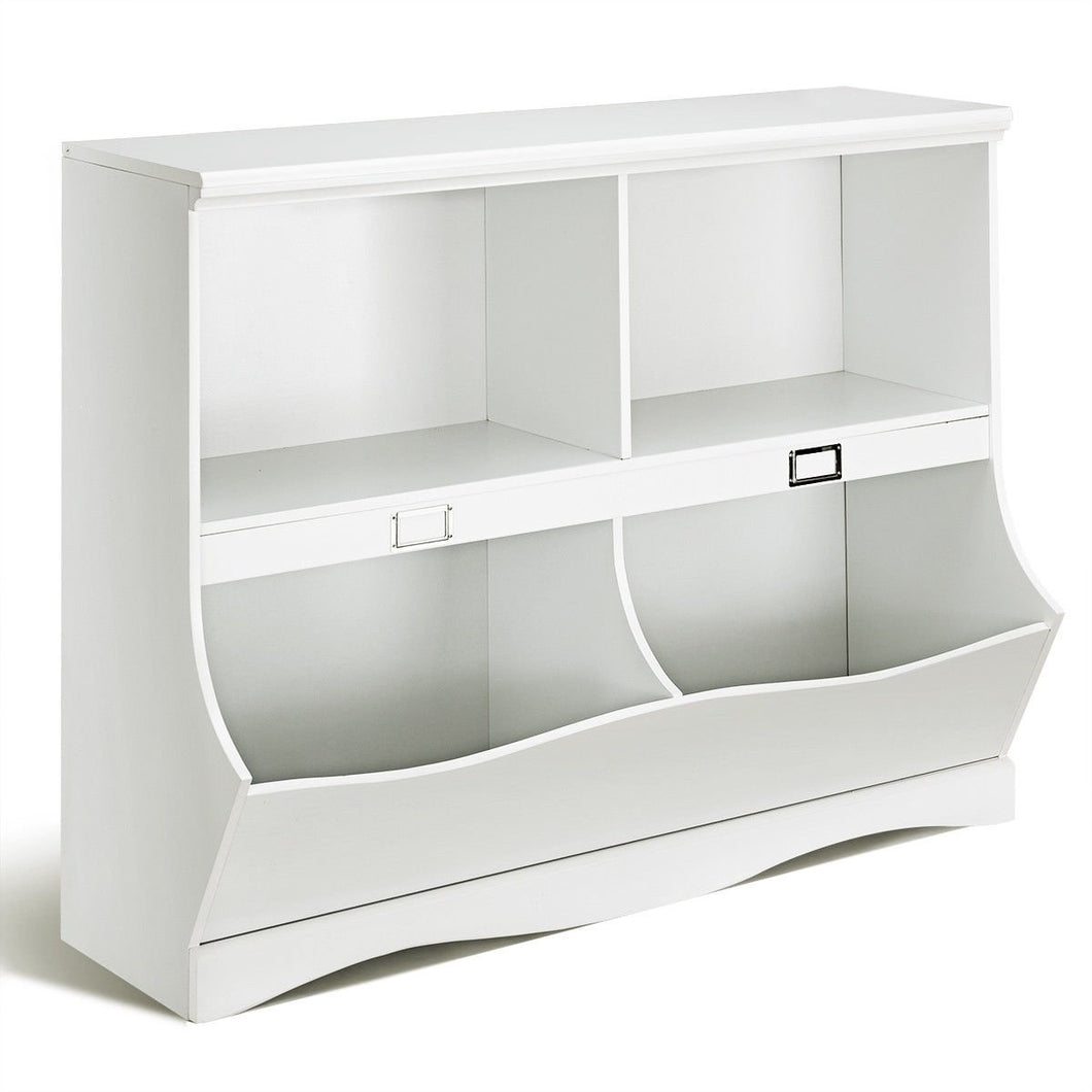 Children Storage White Bookcase Toy Organizer