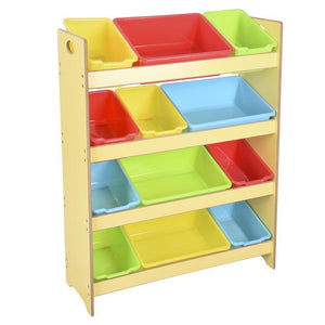 4-Tier Kids Toys Organizer Shelf 12-Bin Plastic Storage Yellow
