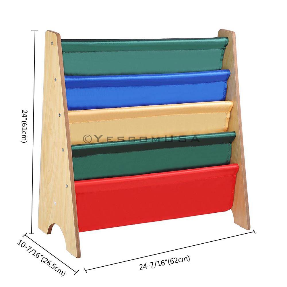 (UK) Children Kids Wood Sling Bookcase Bookshelf Toy Organizer