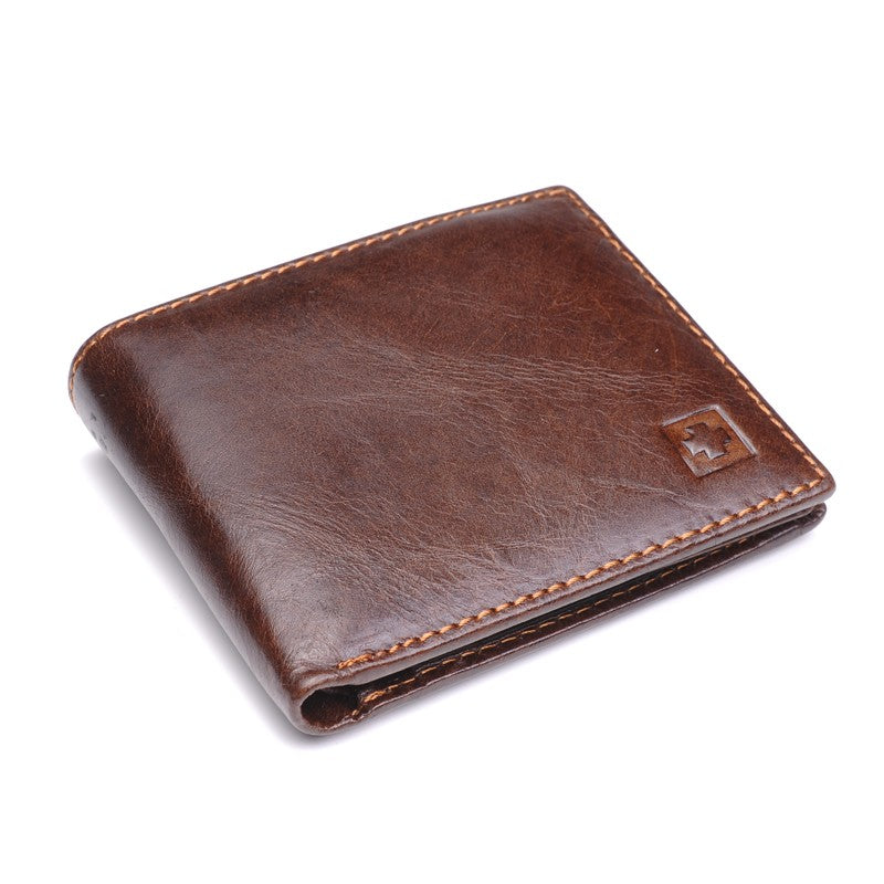 Genuine Leather Wallet Men Purses Men Black Brown Bifold Wallet RFID Blocking Wallets With Gift Box MRF7