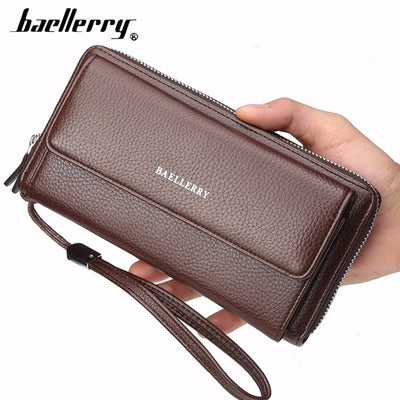 Baellerry PU Leather Men Clutch Wallets Zipper Large Capacity Hand Strap Men Wallet Luxurious Business Solid Male Purses