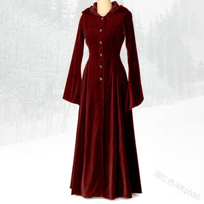 Renaissance Medieval Costume Winter Long Coat Dress Vintage Hooded Trench Coat Long Dress Coat Cosplay Plus Size
