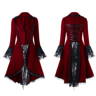 Steampunk Women Lace Trim Laceup Tuxedo Coat Black Victorian Style Gothic Jacket Medieval Performing Stage Dress