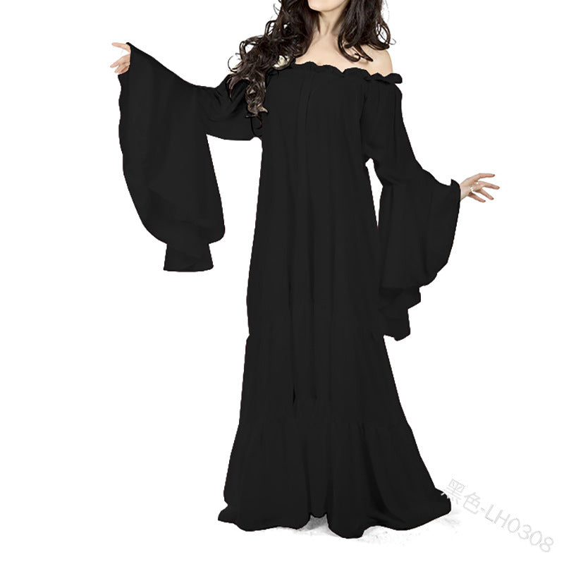 Medieval Oil Cloth Long Maxi Woman's Off Shoulder Dress Renaissance Cold Shoulder Night Gown Ruffle Skirt Victorian Costume