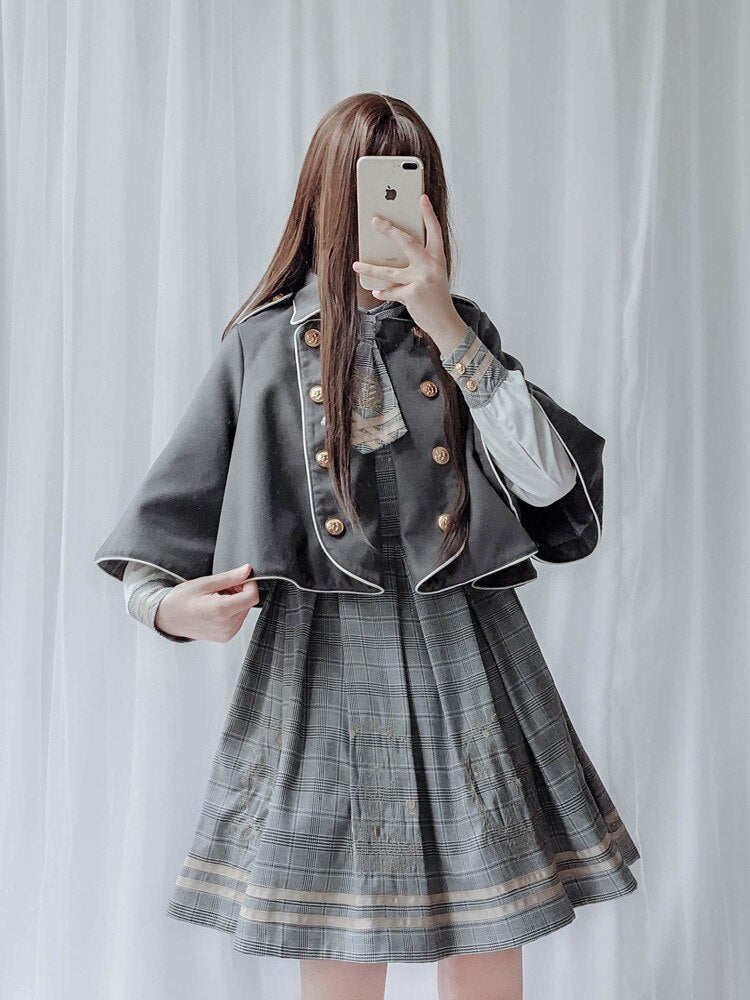 Lolita Dress Cape Vintage Preppy Chic Pleated Skirt Shirt Buttons Tie Academic Style Kawaii Sweet Cute Bear Jk Uniform