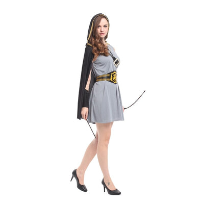 Adult Hooded Archer Huntress Costume Medieval Warrior Knight Costumes Fancy Dress Halloween Party Carnival Costumes
