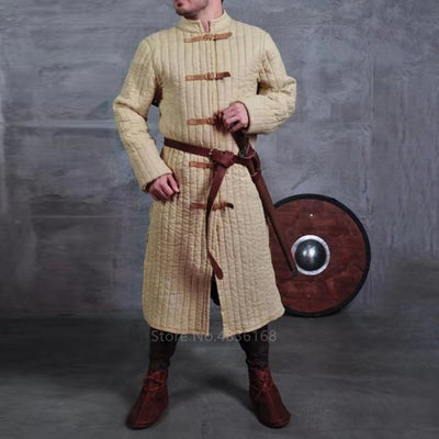 Adult Men Medieval Larp Viking Costume Leopold Gambeson Canvas Turtleneck Jacket Battle Hero Padded Winter Coat Pirate Cosplay