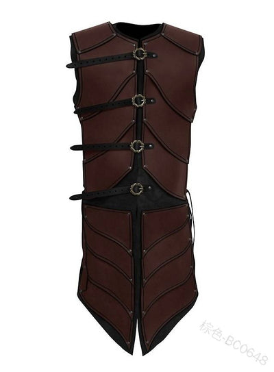 Adult Mens Leather Vest Armor Medieval War Larp Knight Warrior Costume Armour Roman Archer Tabard Coat Cosplay Tunic Outfit