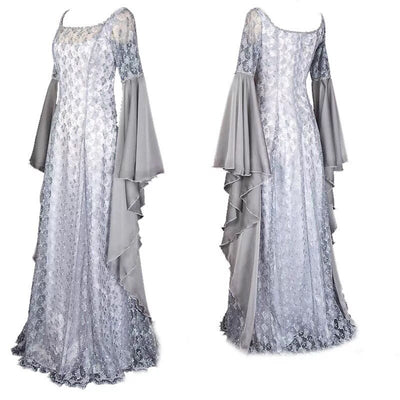 Adult Women Medieval Renaissance Princess Costume White Wedding Lace Maxi Dress Lace Wide Sleeves Gown Robe Ladies