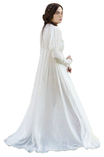 Adult Women White Medieval Dress Vintage Renaissance Dress Floor Long Length Women Cosplay Dresses Retro Medieval Dress Gown